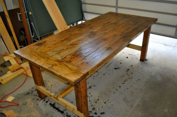 Distressed Farm Table Vinegar And Steel Wool Diy