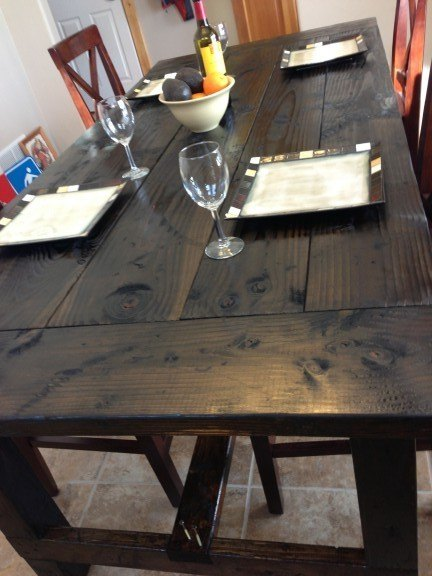 Completed Farm Table Dark Finish