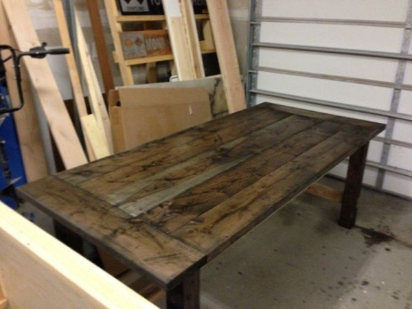 farm table with vinegar and steel wool
