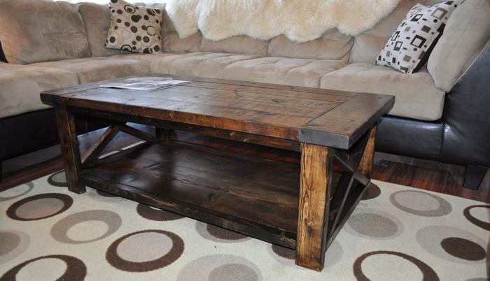 how to build and distress farmhouse style coffee table. Black Bedroom Furniture Sets. Home Design Ideas