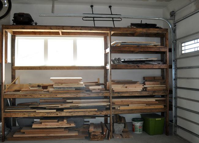 ... store all of my scrap wood, metal, and concrete on my new shelves