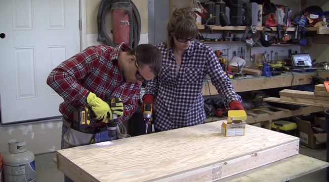 attaching-the-plywood-top-for-cornhole