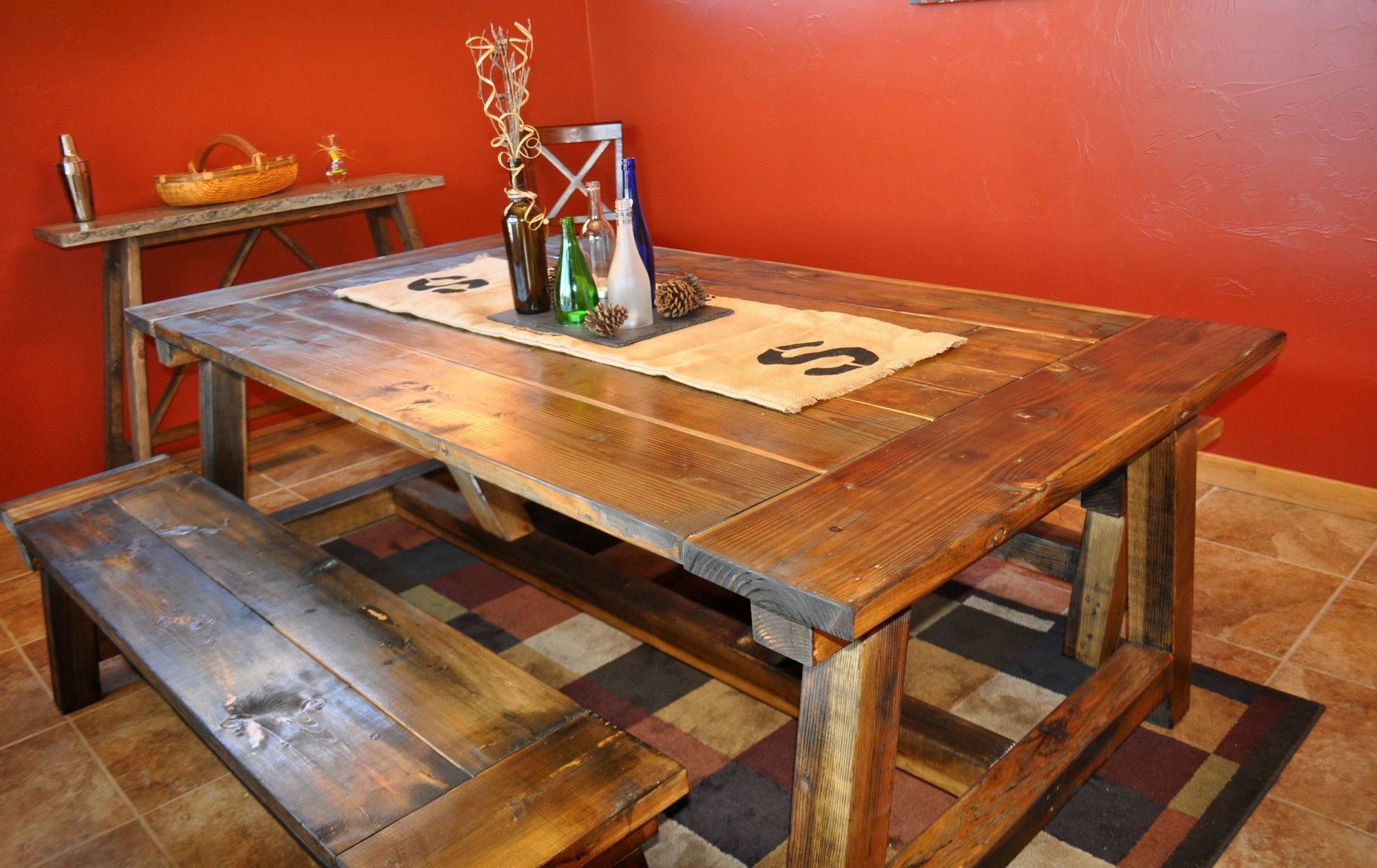 DIY Farmhouse Styled Dining Room Table. Large Plank And Beam Farmhouse Table