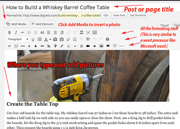 Creating a post or page is simple. The interface looks very similar to Microsoft Word and other word processing programs.