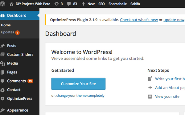 This is the WordPress Dashboard. It is the backend of your website where all of the editing will be done.