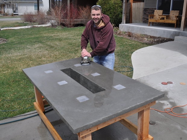 stunning led concrete patio table with a built in cooler