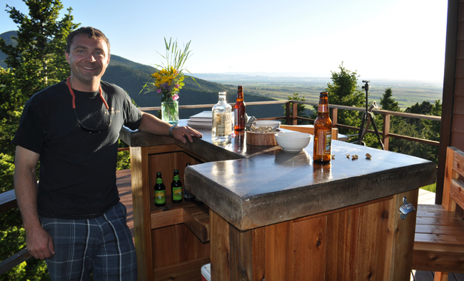 DIY-PETE-at-Patio-Bar - Patio Bar Plans - Concrete Counter And Cedar Base