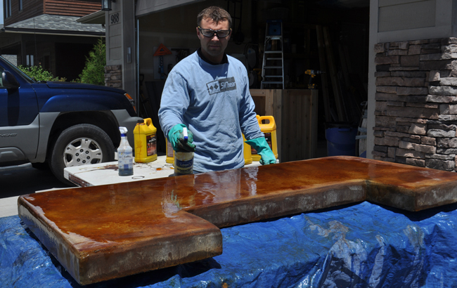 Patio Bar Plans Concrete Counter And Cedar Base - Stained concrete table