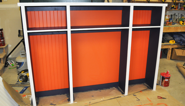 Locker room style shelves