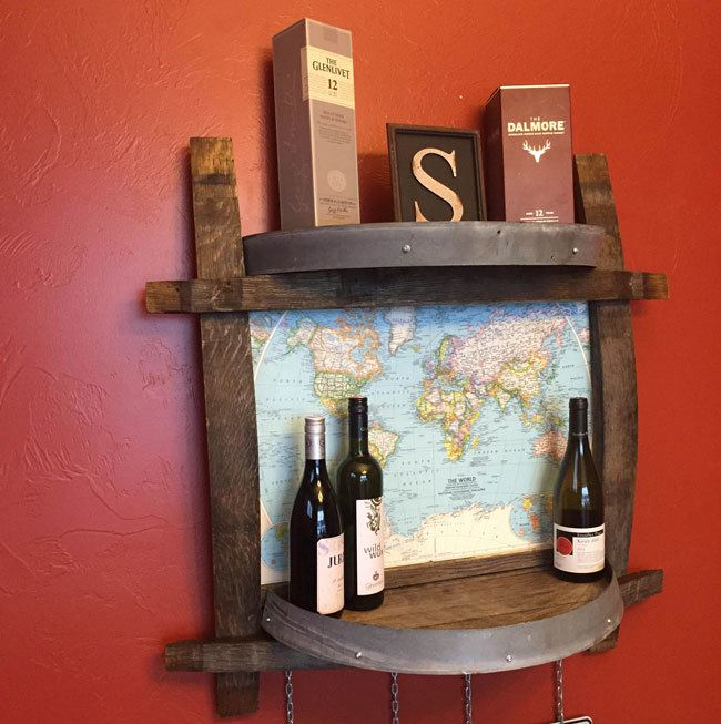 DIY Wine Barrel Shelf