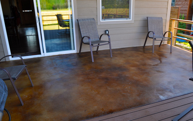 acid stained patio sealing stain concrete multiple colors flooring with gloss finish pictures of countertops