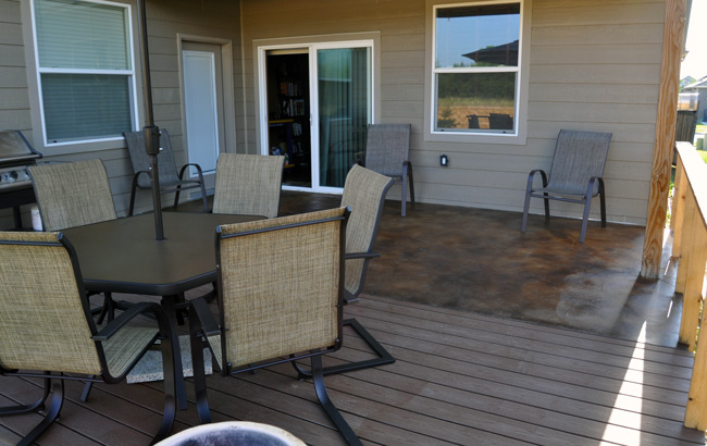 Acid Stained Patio and Trex Deck