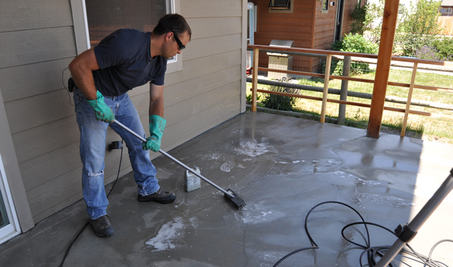How to acid stain concrete for Clean oil from concrete