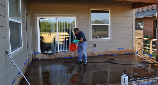 neutralize acid stained concrete
