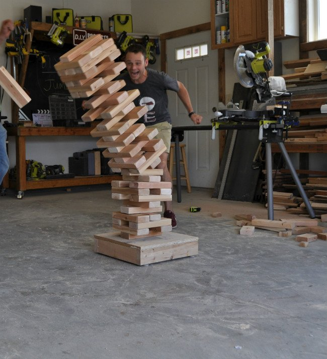 Giant Jenga Game Playing 2