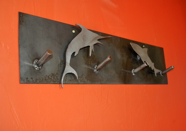 metal coat rack, plasma cutter, marine life, coat rack