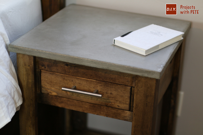 Diy nightstand plans concrete nightstand for Free nightstand woodworking plans