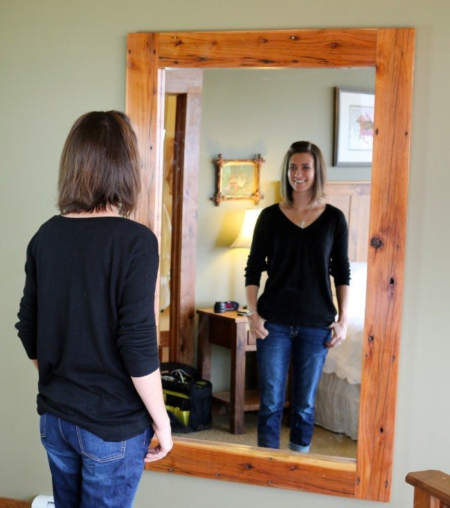 full length mirror, mirror, wood mirror, wood frame, wood frame mirror, full length wood mirror, reclaimed wood