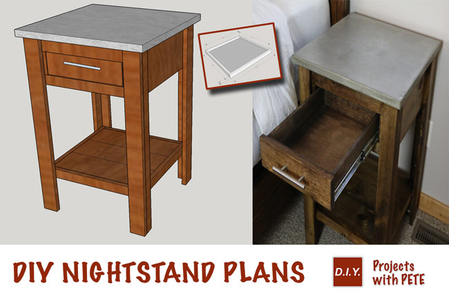 diy nightstand plans concrete nightstand. Black Bedroom Furniture Sets. Home Design Ideas