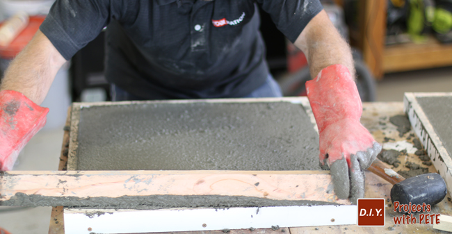 Screeding a concrete counter