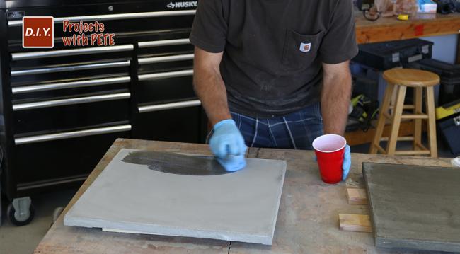 Sealing a concrete table