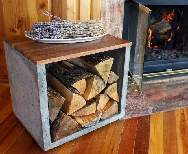 concrete, woodworking, firewood, firewood holder, log holder, concrete log holder, modern concrete, interior design, fireplace