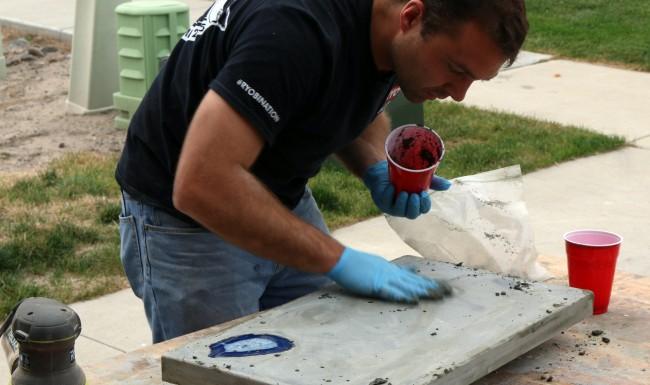 concrete work, woodworking, kreg jig, sanding, concrete