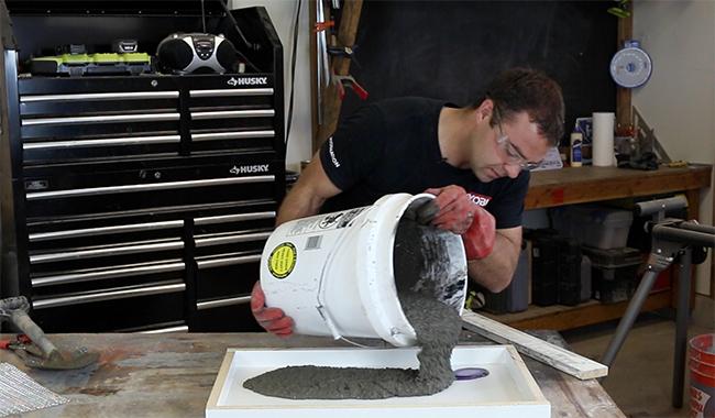 pouring concrete, concrete, concrete end table