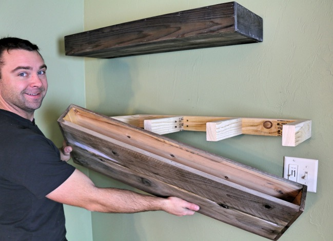 Diy wood floating shelf how to make one for How to make wall shelves easy