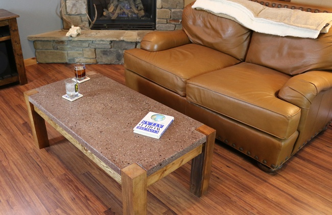 DIY Polished Concrete Coffee Table With Crushed Glass DIY Projects - Concrete and glass coffee table