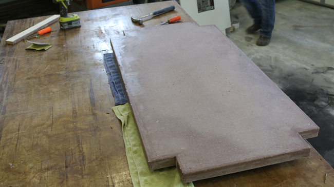 Concrete table fresh out of the mold