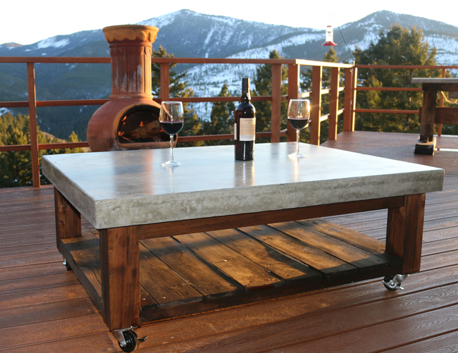 Concrete Coffee Table on Wheels