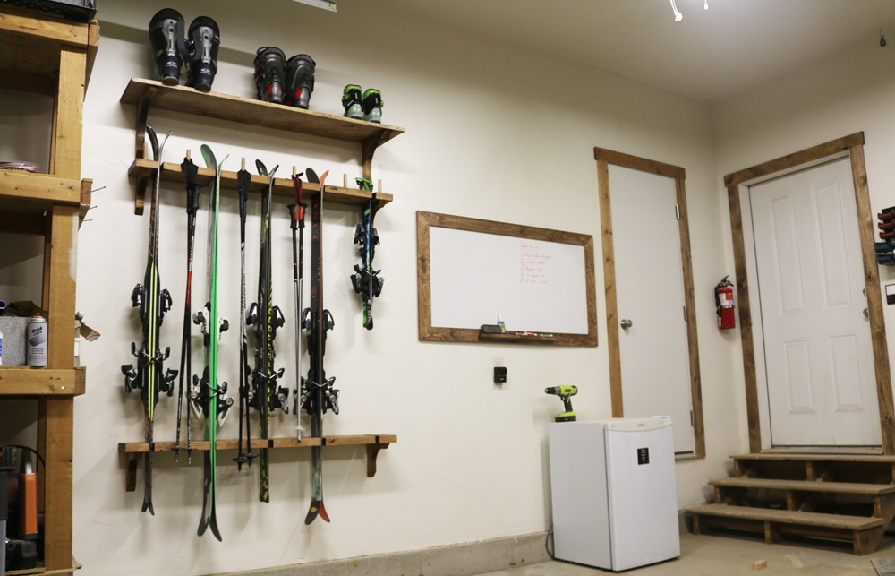 DIY Ski Rack Project with Free Plans Ski Rack For Garage on ski rack in mudroom, ski rack ideas, bike for garage, ski coat rack, diy surfboard racks for garage, ski roof rack, ski boot storage, ski rack plans, hardware for garage, ski display, board racks for garage, ski wall rack, fishing racks for garage, winches for garage, hooks for garage, drawers for garage, storage benches for garage, ski hangers wall mount, ski wine rack, ski and snowboard storage,
