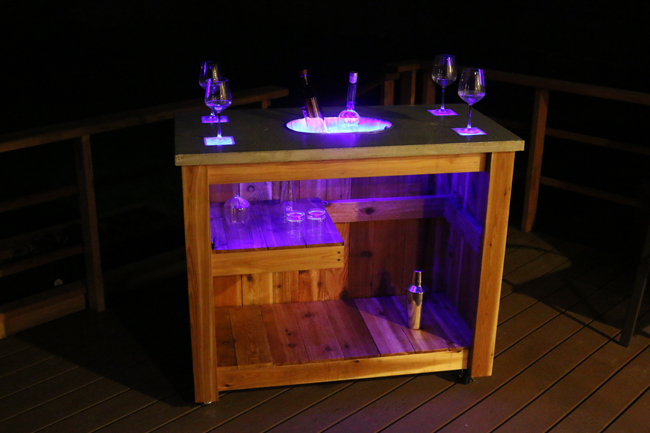 Concrete Patio Bar Cart with LED lights