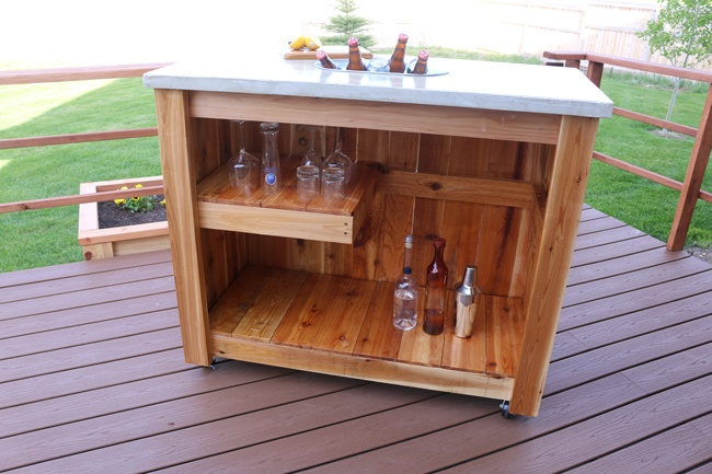 how to make a concrete bar cart with led lights