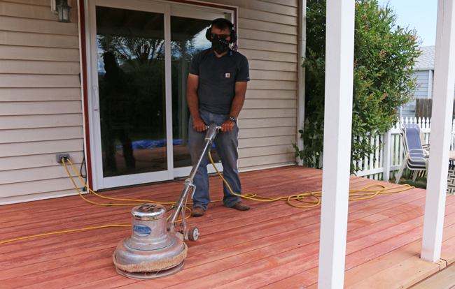 Using a floor sander for a deck