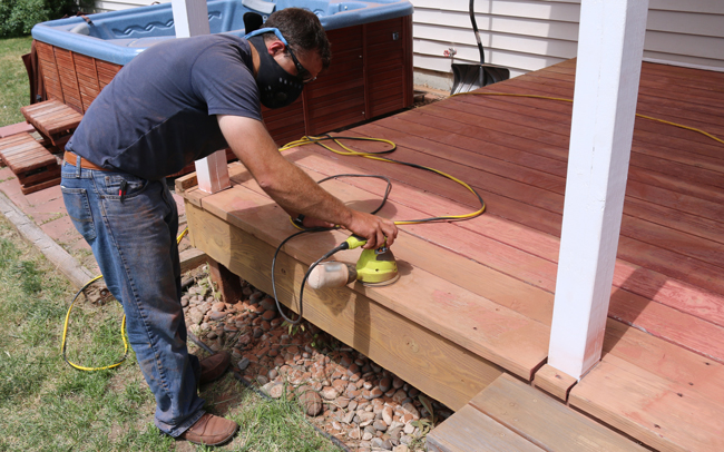 how to sand deck boards