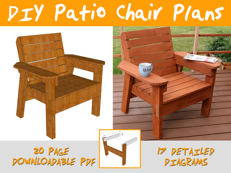 Diy patio chair plans and tutorial step by step videos for Patio furniture designs plans