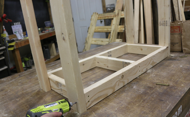 attaching legs to firewood rack