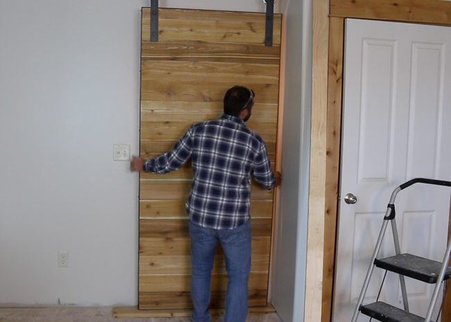 how to make a sliding barn door free plans diy projects with pete. Black Bedroom Furniture Sets. Home Design Ideas