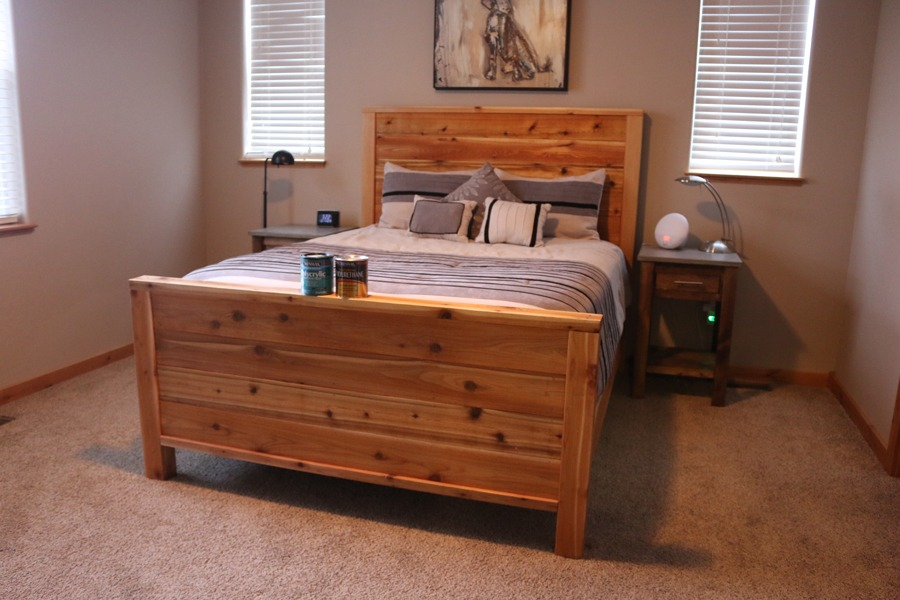 Diy bed frame plans how to make a bed frame with diy pete for Bed frame plans