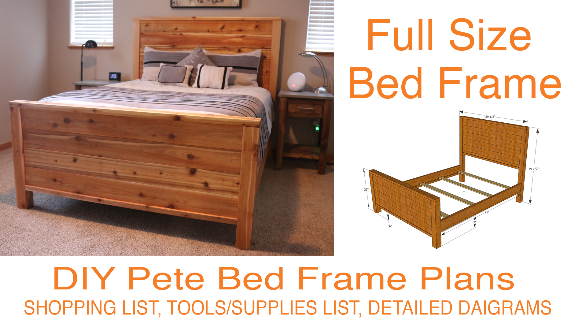 Full Size Bed Frame.Diy Bed Frame Plans How To Make A Bed Frame With Diy Pete
