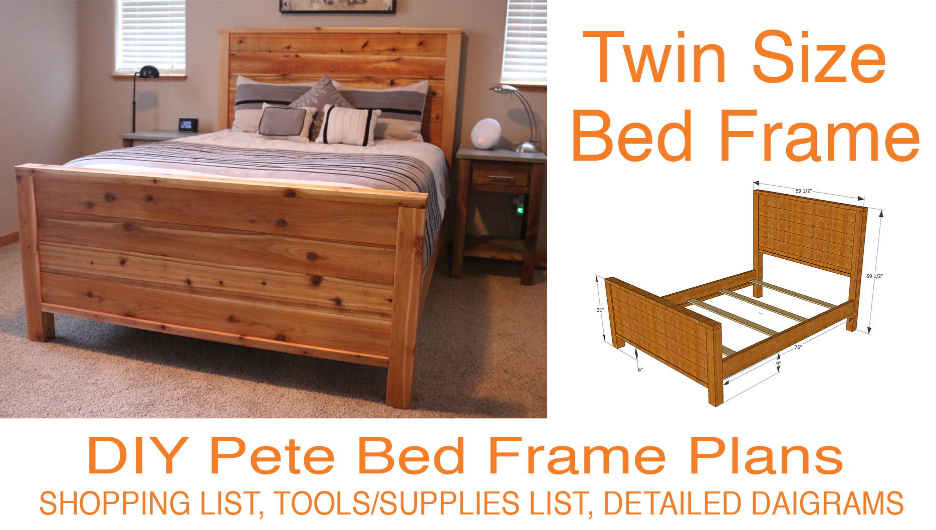 diy bed frame plans how to make a bed frame with diy pete. Black Bedroom Furniture Sets. Home Design Ideas