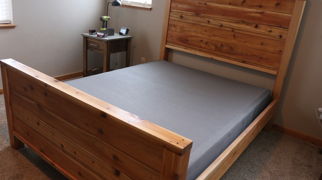 wood bed frame with box springs