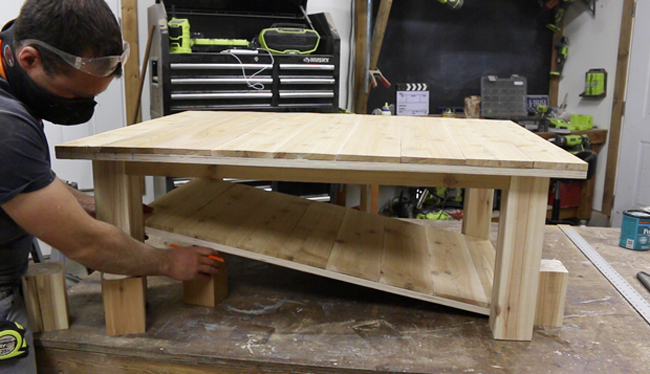 how to make a coffee table with a shelf