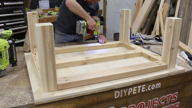 attaching coffee table base to the top