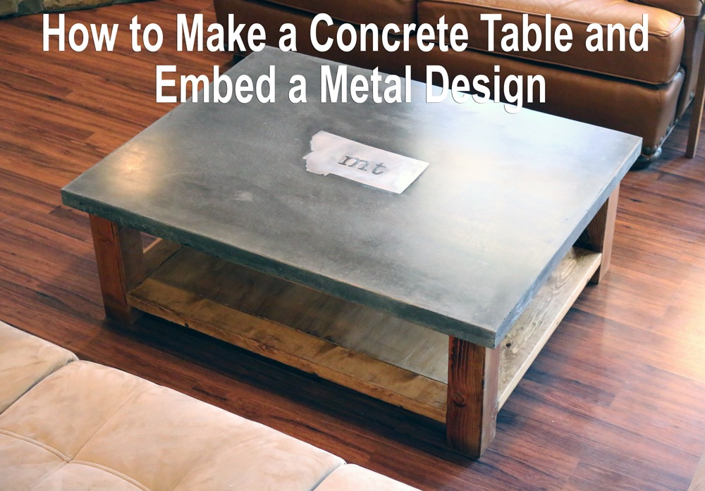 How to embed metal logo in concrete