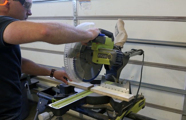 cutting melamine with a miter saw