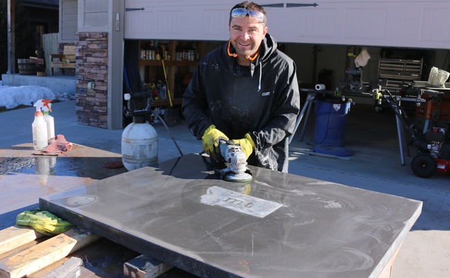 how to polish a concrete counter