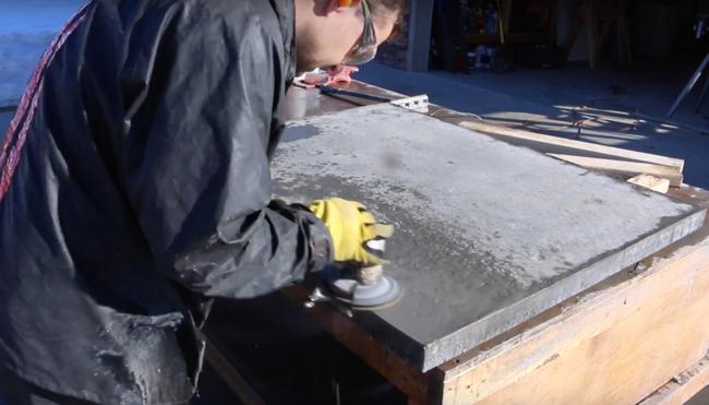 polish underside of concrete counter